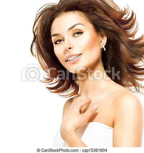 piękny, doskonały, odizolowany, młody, white., samica, skóra, portret - csp15361604