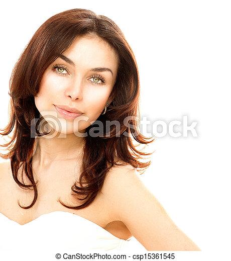 piękny, doskonały, odizolowany, młody, white., samica, skóra, portret - csp15361545