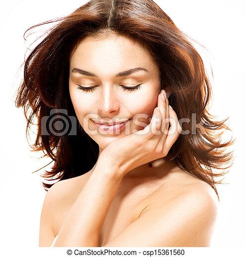 piękny, doskonały, odizolowany, młody, white., samica, skóra, portret - csp15361560