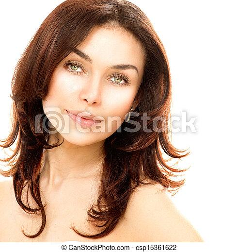 piękny, doskonały, odizolowany, młody, white., samica, skóra, portret - csp15361622