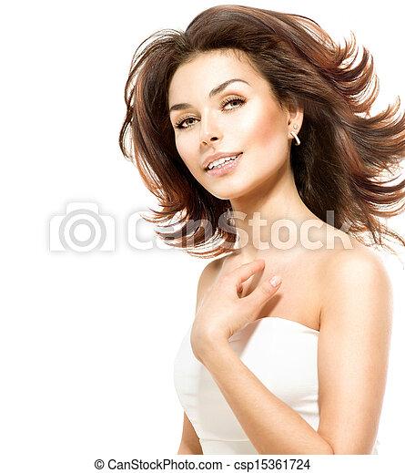 piękny, doskonały, odizolowany, młody, white., samica, skóra, portret - csp15361724