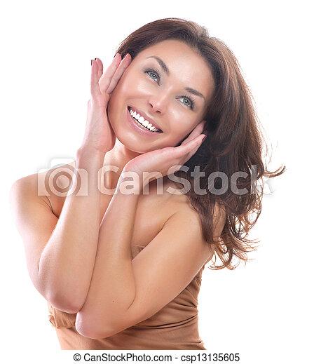 piękny, doskonały, odizolowany, tło., skóra, dziewczyna, biały - csp13135605
