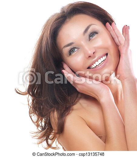piękny, doskonały, odizolowany, tło., skóra, dziewczyna, biały - csp13135748