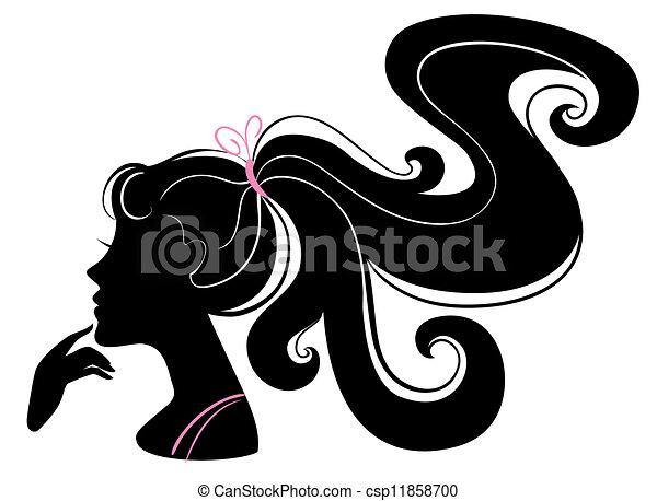 piękny, dziewczyna, sylwetka - csp11858700