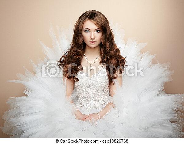 piękny, fotografia, bride., portret, ślub - csp18826768