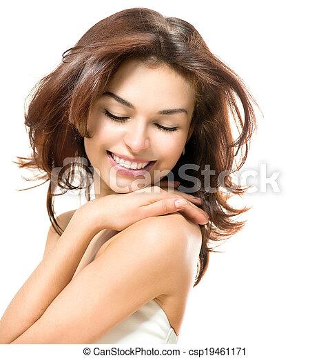 piękny, jej, piękno, młody, dotykanie, samica, skóra, woman. - csp19461171