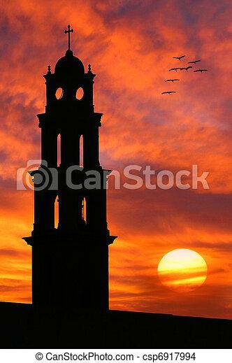piękny, kościół, sylwetka, przeciw, sky. - csp6917994