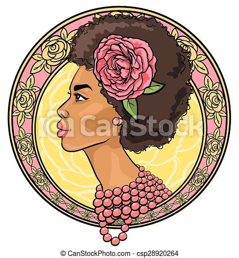 piękny, kwiatowy, kobieta brzeg, portret - csp28920264
