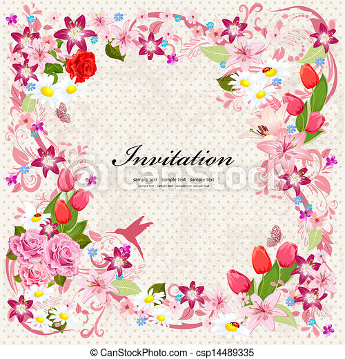 piękny, kwiatowy zamiar, karta, zaproszenie - csp14489335