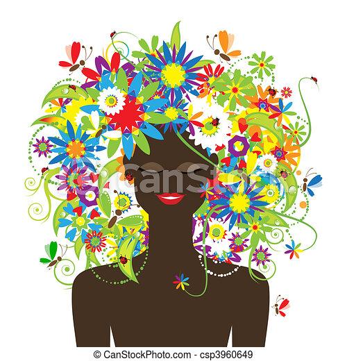piękny, lato, fryzura, kobieta twarz, kwiatowy - csp3960649