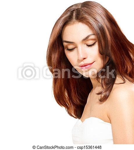 piękny, młody, odizolowany, samica, portret, biały - csp15361448