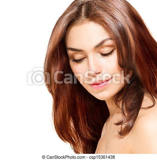 piękny, młody, odizolowany, samica, portret, biały - csp15361438