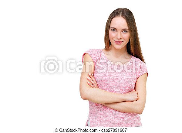 piękny, młody, odizolowany, tło, portret, wzór, biały - csp27031607