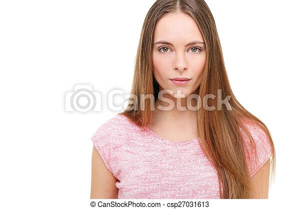 piękny, młody, odizolowany, white., portret, wzór - csp27031613