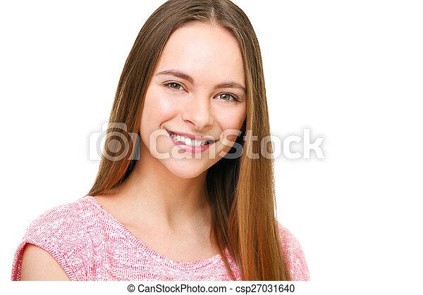 piękny, młody, odizolowany, white., portret, wzór - csp27031640