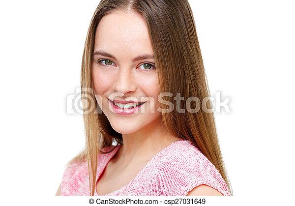 piękny, młody, odizolowany, white., portret, wzór - csp27031649