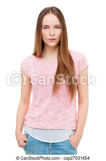 piękny, młody, odizolowany, white., portret, wzór - csp27031654