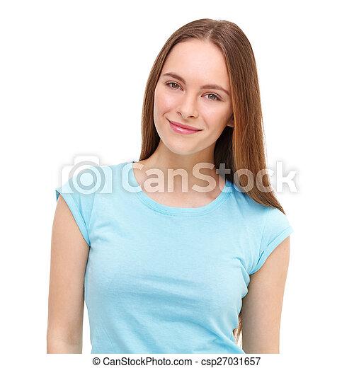 piękny, młody, odizolowany, white., portret, wzór - csp27031657