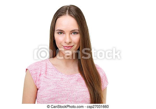 piękny, młody, odizolowany, white., portret, wzór - csp27031660
