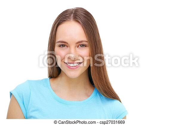 piękny, młody, odizolowany, white., portret, wzór - csp27031669