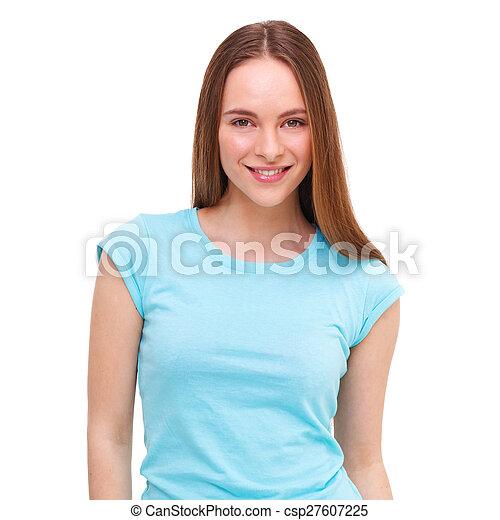 piękny, młody, odizolowany, white., portret, wzór - csp27607225