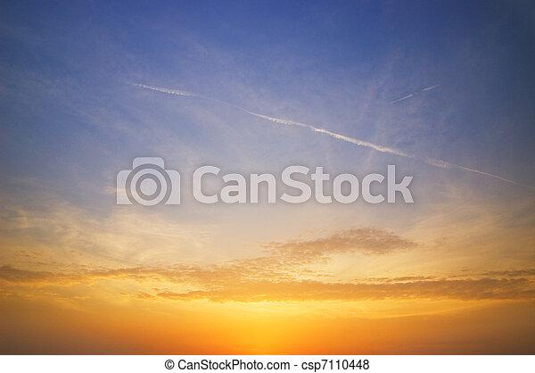 piękny, niebo, zachód słońca, czas - csp7110448