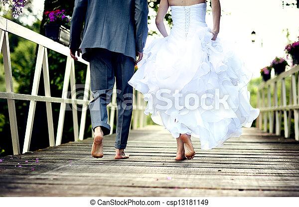 piękny, para, ślub - csp13181149