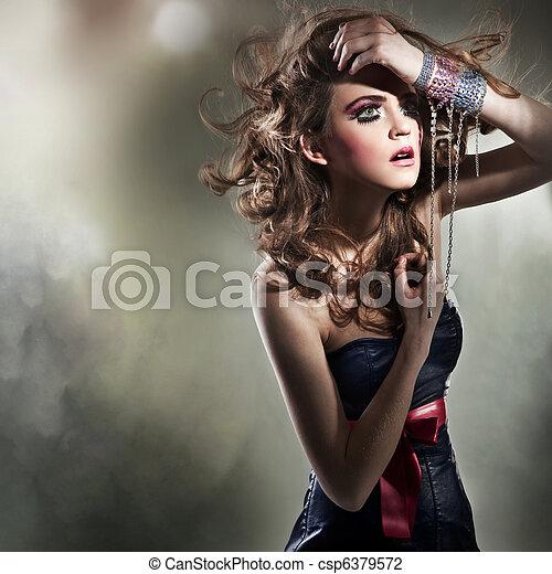piękny, portret, kobieta, młody - csp6379572