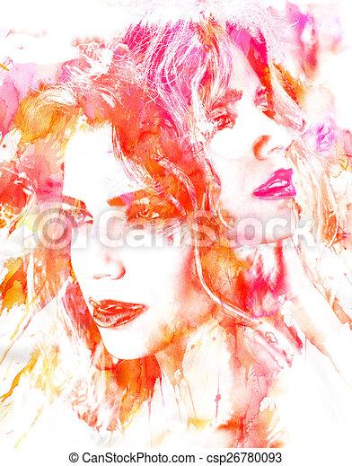 piękny, portret, kobieta - csp26780093