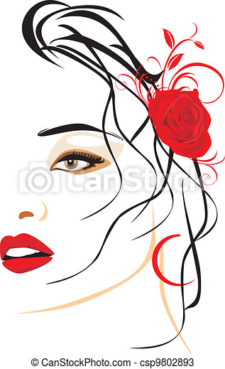 piękny, portret, kobieta - csp9802893