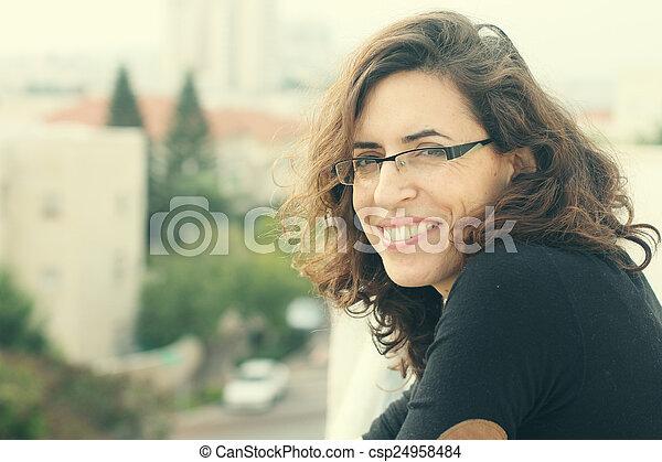 piękny, portret, stary, 35, lata - csp24958484