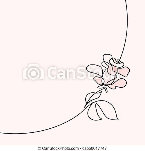 piękny, róża, ciągły, logo, kreskówka - csp50017747
