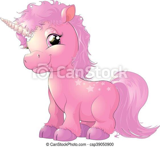 piękny, różowy, jednorożec - csp39050900