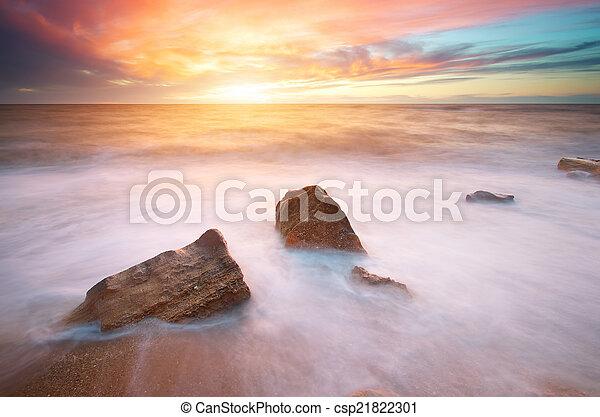 piękny, seascape. - csp21822301