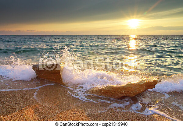 piękny, seascape. - csp21313940