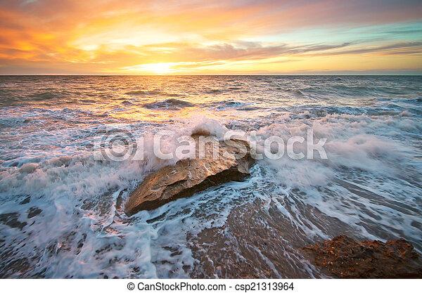 piękny, seascape. - csp21313964