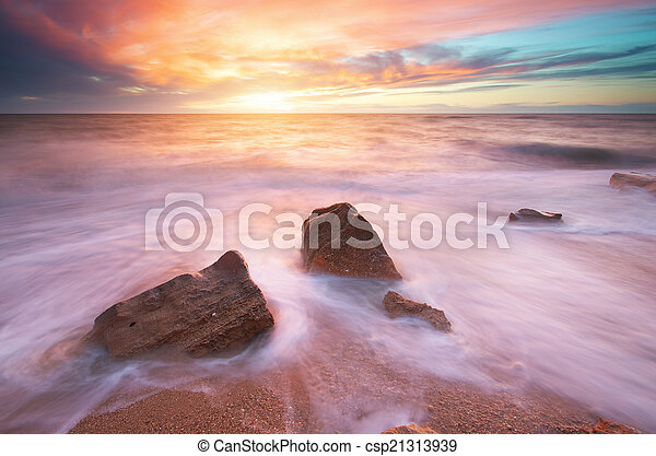 piękny, seascape. - csp21313939