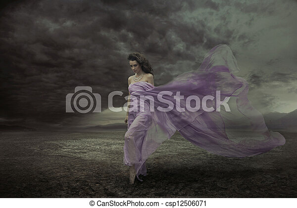 piękny, sexy, portret kobiety - csp12506071