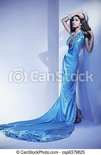 piękny, styl, romantyk, młody, portret, dama - csp6379825