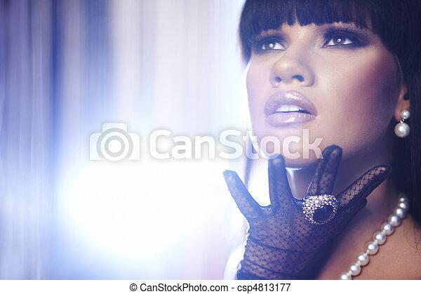 piękny, szczelnie-do góry, fason, sztuka, makijaż, photo., woman. - csp4813177