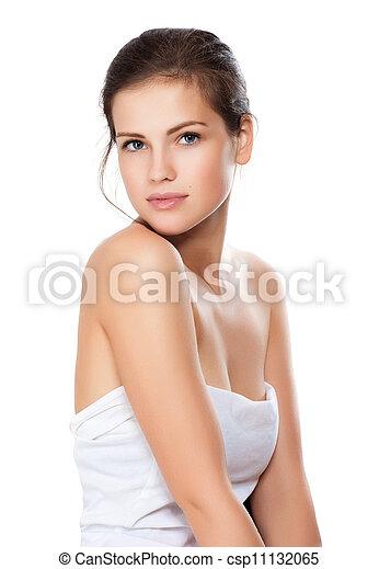 piękny, szczelnie-do góry, kobieta, zdrowy, młody, twarz, czysty, skóra, portret - csp11132065