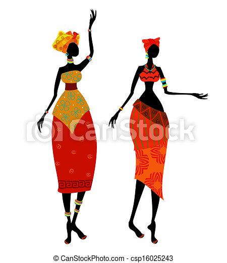 piękny, tradycyjny, kobieta, kostium, afrykanin - csp16025243