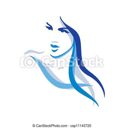 piękny, włosy, kobieta, długi - csp11143720