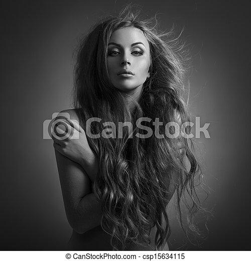 piękny, woman., trzepotliwy, długi, hair. - csp15634115
