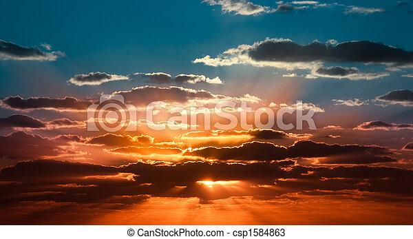 piękny, wschód słońca - csp1584863