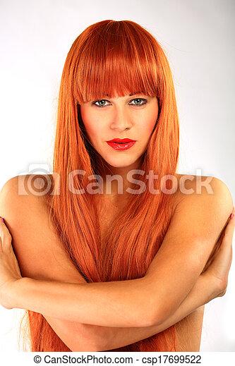 piękny, zdrowy, włosy, dziewczyna, długi - csp17699522