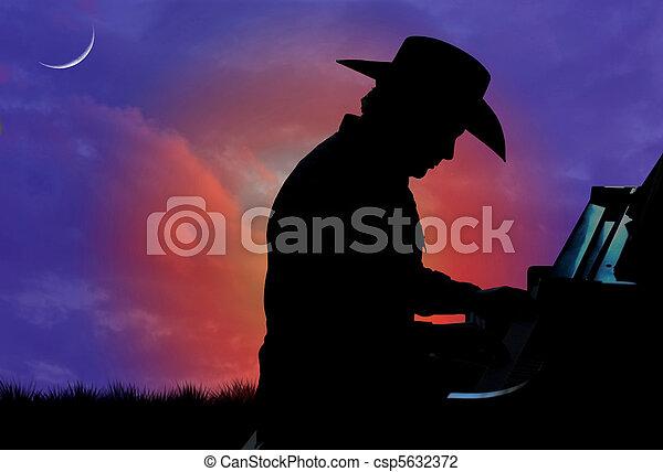 pianist, silhouette, cowboy - csp5632372
