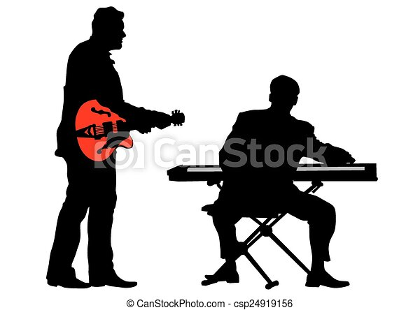piano and guitar pianist and guitarist of rock band on a clipart rh canstockphoto com punk rock band clipart classic rock band clipart