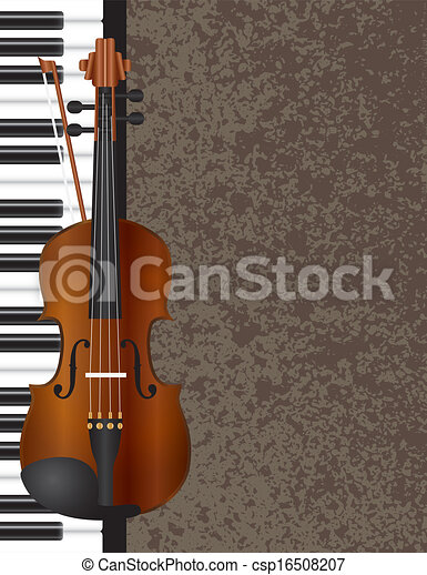 Piano and Violin with Background Illustration - csp16508207