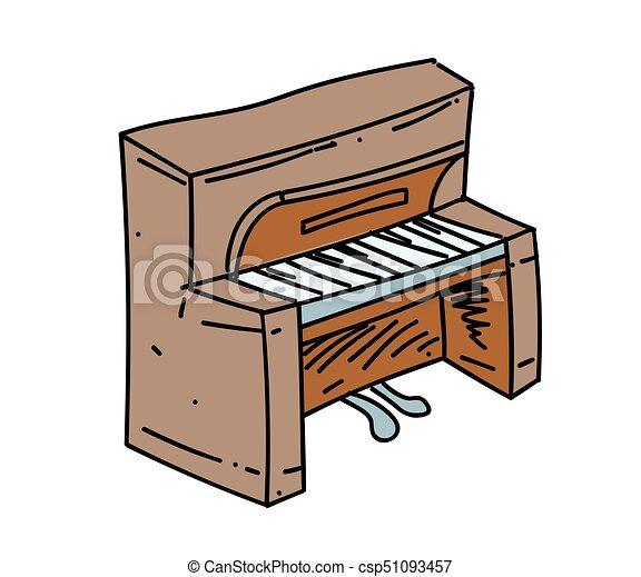 Piano cartoon hand drawn image